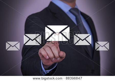 Email Resource Businessman with Finger