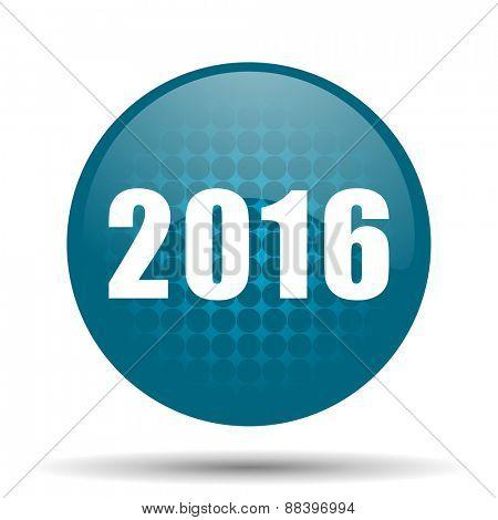 year 2016 blue glossy web icon