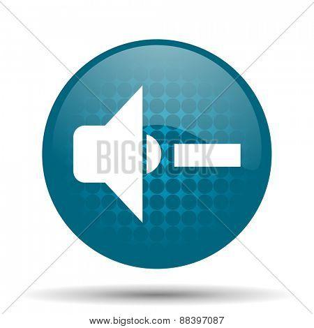 speaker volume blue glossy web icon