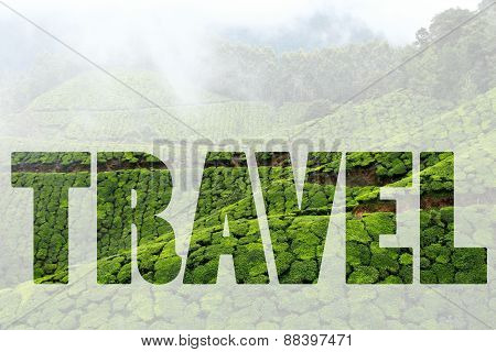 Word Travel Over Landscape Of Green Tea Plantations. Munnar, Kerala, India