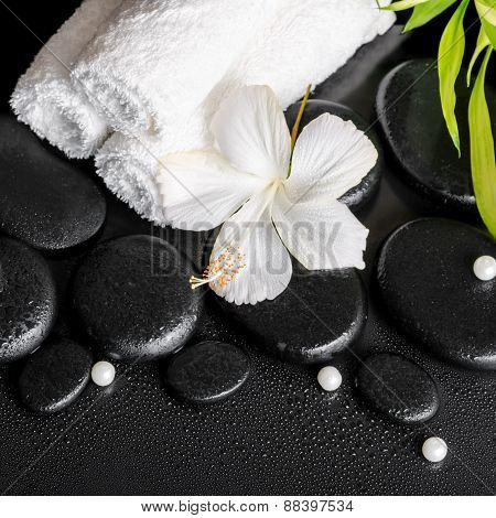 Spa Still Life Of White Hibiscus Flower, Bamboo And Towels On Zen Basalt Stone With Drops, Closeup