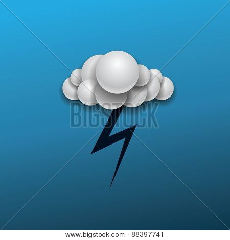 Abstract Weather Icon Design - Cloud with Lightening in The Dark Blue Sky