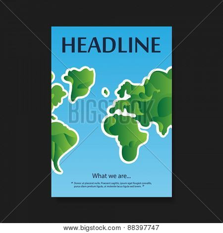 Flyer or Cover Design with Earth Map