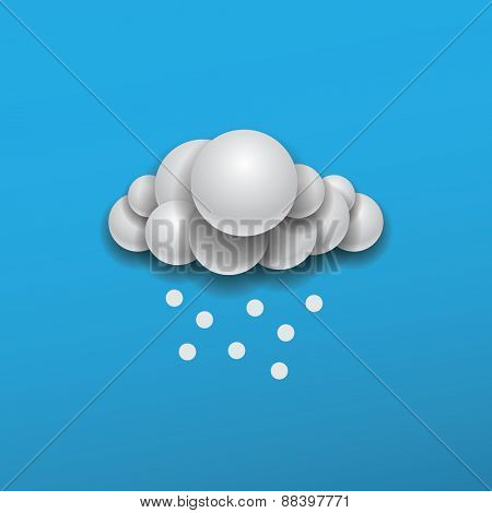 Abstract Weather Icon Design - Cloud with Snow in the Blue Sky