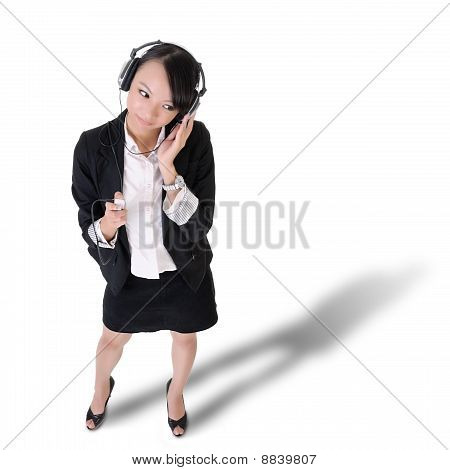 Young Business Woman Listening Music