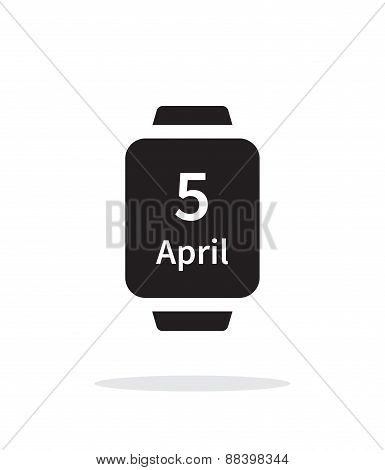 Calendar on smart watch simple icon on white background.