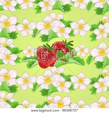 Seamless Texture Of Strawberries With Flowers And Leaves Vector