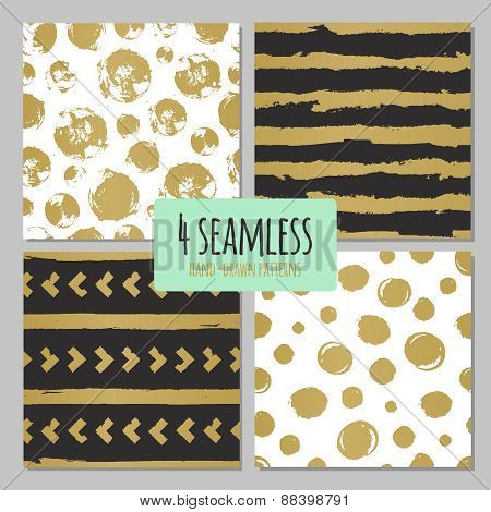 Set of 4 hand drawn seamless trendy patterns with ink brush strokes. Isolated on white and black bac