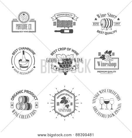 Set of elegant wine badges and labels. Vintage logos template