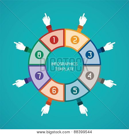 Abstract Vector 8 Steps Infographic Template In Flat Style For Layout Workflow Scheme, Numbered Opti