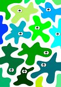 image of amoeba  - Vector green and blue eyed amoebas backround - JPG