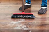picture of broom  - Cleanup housework concept - JPG