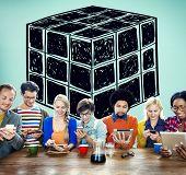 foto of twisty  - Cube Dice Dimension Logic Mind Thinking Concept - JPG