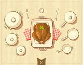 picture of roast chicken  - Vector illustration of pots and cookware with roasted chicken - JPG