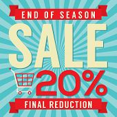 picture of year end sale  - Shopping Cart With 20 Percent End of Season Sale Illustration - JPG