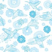 stock photo of colibri  - Vector blue hummingbirds and flowers lineart seamless pattern background graphic design - JPG
