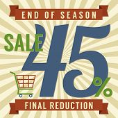 stock photo of year end sale  - Shopping Cart With 45 Percent End of Season Sale Illustration - JPG