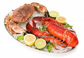 picture of cooked crab  - Crab and lobster isolated on a white background - JPG