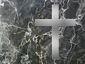 image of condolence  - silver cross inlay in marble plate with copy space - JPG