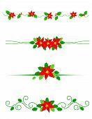 stock photo of poinsettia  - Collection of colorful christmas dividers with red poinsettia flowers and holly leaves - JPG