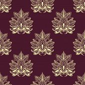 stock photo of flourish  - Paisley flourish seamless pattern on burgundy background with abstract beige flowers composed of pointed blossoms with curly tips for wallpaper or textile design - JPG