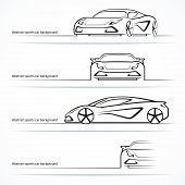 picture of four-wheel drive  - Set of four abstract sports car silhouettes - JPG