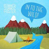 image of bonfire  - Cute summer poster  - JPG