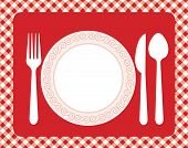 stock photo of dinner invitation  - Dinner invitation card background with spoon knife and fork - JPG
