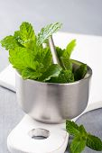 stock photo of pestle  - Metal mortar and pestle with fresh mint on white cutting board - JPG