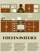 image of kitchen appliance  - Modern kitchen interior in brown colors with modular cabinets - JPG
