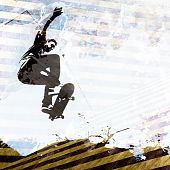 image of skate board  - A grungy skateboarding layout with plenty of negative space for your text - JPG