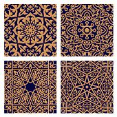 image of indigo  - Geometric arabic seamless patterns with orange ornament and interlacing foliage elements on dark indigo background for religion or tile design - JPG