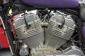 picture of cylinder  - Close up of a twin cylinder motorcycle engine - JPG