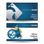 stock photo of pipeline  - Business card for plumbing repairs and pipeline business - JPG