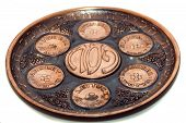 picture of passover  - seder plate vor passover holiday isolated with white background close up - JPG