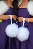 picture of pom-pom  - two bridesmaids in purple holding white feather pom poms