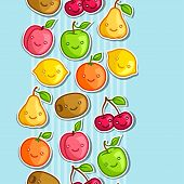 picture of kawaii  - Seamless pattern with cute kawaii smiling fruits stickers - JPG