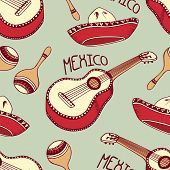 picture of sombrero  - Hand drawn mexico seamless pattern with sombrero - JPG
