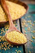 stock photo of millet  - organic millet seeds in a wooden spoon closeup on rustic table - JPG