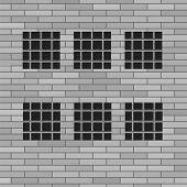 stock photo of jail  - Prison Grey Brick Wall with Windows - JPG