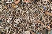 picture of bolt  - A lot of old bolts and nuts - JPG