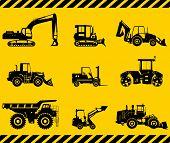 image of heavy equipment  - Silhouette illustration of heavy equipment and machinery - JPG
