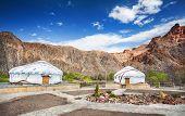 stock photo of nomads  - Urta nomadic houses in Charyn grand canyon Kazakhstan - JPG