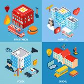 stock photo of fire-station  - Municipal buildings design concept set with fire station hospital police and school isometric icons isolated vector illustration - JPG