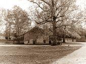 picture of burlington  - A sepia toned landscape of the historic Batsto Village in Burlington County New Jersey - JPG
