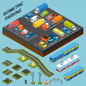 pic of bus driver  - Isometric parking with 3d cars trucks and and buses elements isolated vector illustration - JPG