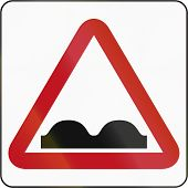foto of bump  - Bruneian sign indicating speed bumps or uneven road - JPG