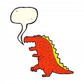 foto of dinosaur  - cartoon dinosaur with speech bubble - JPG