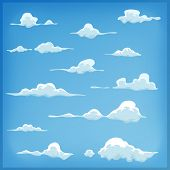 pic of clouds sky  - Illustration of a set of funny cartoon clouds smoke patterns and fog icons for filling your sky scenes or ui games backgrounds - JPG
