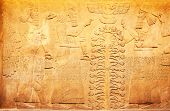 foto of mesopotamia  - Ancient sumerian stone carving with cuneiform scripting - JPG